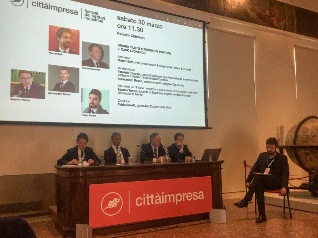 Un momento della tavola rotonda con Leonardo e Ecor International durante il Festival Città Impresa di Vicenza