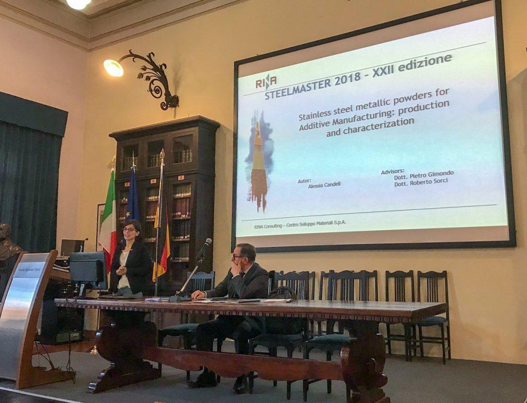 Il momento della presentazione della ricerca sulla proprietà delle polveri per l'Additive Manufacturing